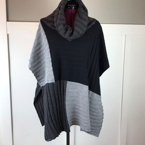 Fraas Color block poncho knit cowel neck sweater